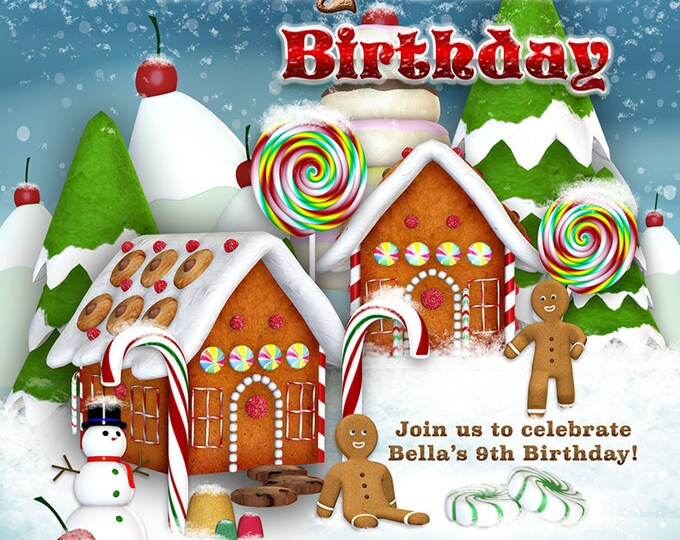 Candy Land Christmas, Gingerbread Holiday, Candyland Holiday Party, Christmas Village Invitation