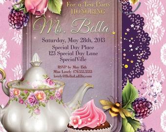 Tea Party Invitations, Tea Parties, Garden Party Invitations, Mothers Day Tea Party