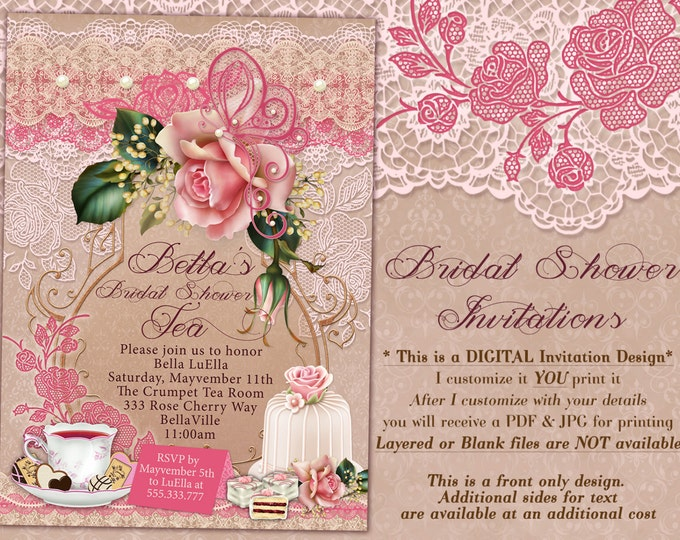 Tea Party Invitation, Bridal Tea Party, Garden Tea Party, Bridal Tea Shower, Pink Rose Cake Tea Invitation, Birthday Tea