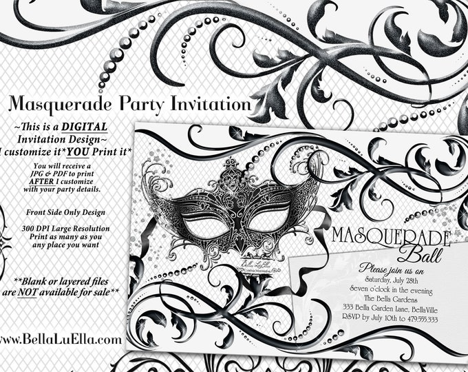 Black White Masquerade Party, Quinceanera Masquerade Invitation, Sweet 16 Birthday Mardi Gras Party, Black White Ball, Mask Party