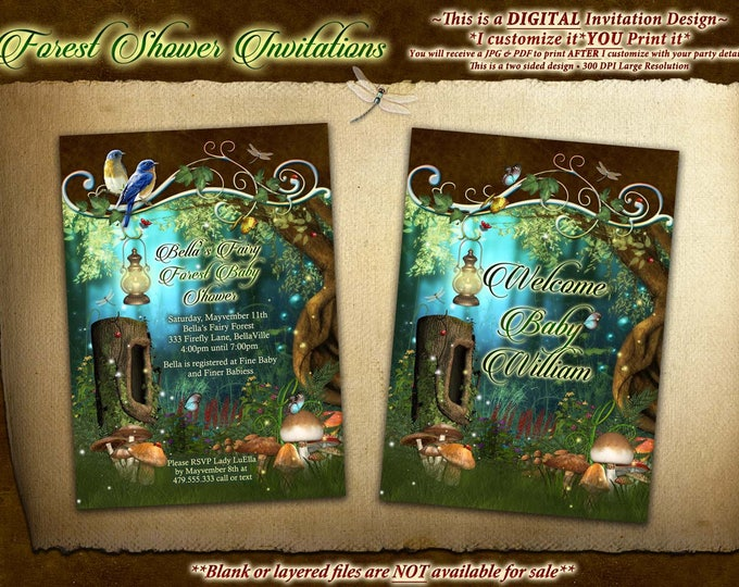 Fairytale Forest Party, Enchanted Wood Invitation,  Forest Wood Baby Shower
