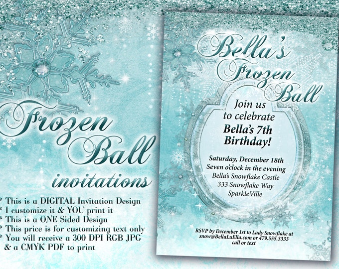 Frozen Party, Winter Snowflake Ball Invitation, Winter Party Invitation, Snowflake Invitation, Christmas Party Invitation