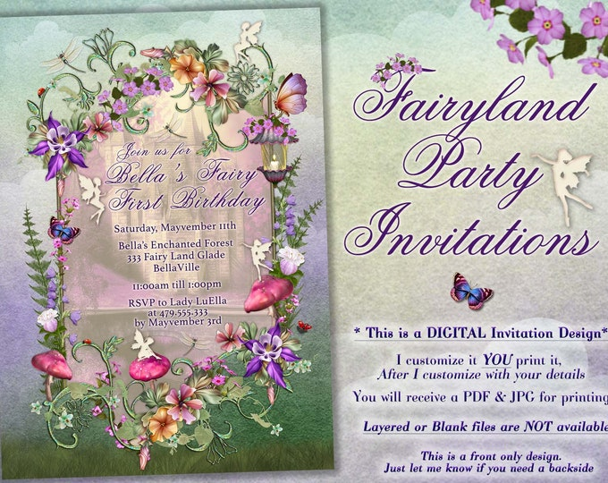 Fairytale Forest Party, Enchanted Wood Invitation,  Forest Wood Baby Shower, Pink Mushroom, Magical Forest Invitation, Floral Fairy Party