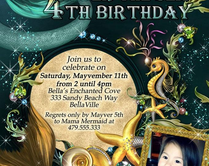Mermaid Party Photo Invitation, Birthday Photo Card, Mermaid Party