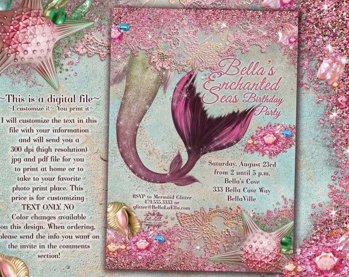 Pink Mermaid Invitations, Mermaid Party, Mermaid Pool Party, Mermaid Birthday Party Invitations
