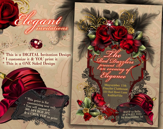 Party Invitations, Red Hat Party, Dinner Party Invite, Ladies Night Out Invitations, Elegant Invitations