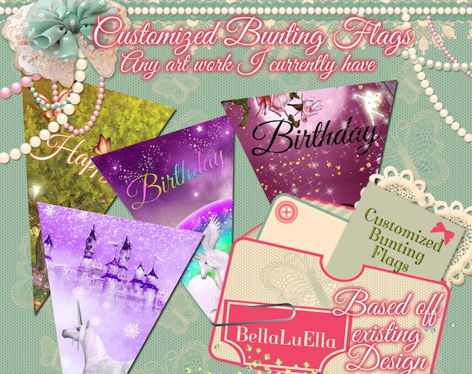 Custom Party Flags, Printable Party Package, Custom Party Printables, Birthday Party, Personalized Party