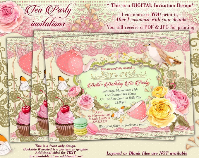Tea Party Invitation, Tea Parties, Bridal Tea Party Invitations, Party Invitations, Tea Time