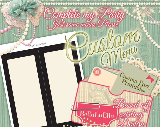 Party Printable Menu, Custom Party Menus