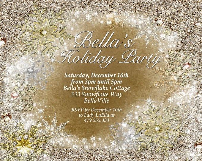 Gold Silver Snowflake Invitation, Winter Wonderland Party Invitation, Snowflake Holiday Invitation, Christmas Party Invitation