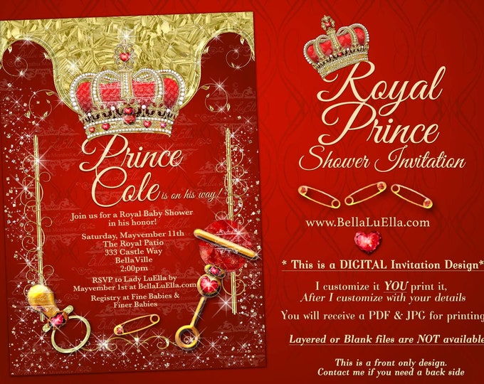 Royal Prince Baby Shower Invitation, Boy Baby Shower, Royal Red Crown Prince Baby Announcement, Boy Bling Baby Shower
