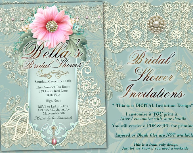 Bridal Shower Invitation, Shower Invitations, Flower Lace Birthday Invitations, Lace Shower Invitations