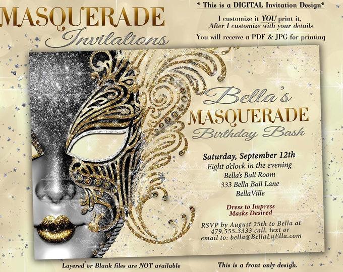 Masquerade Party Invitation, Mardi Gras Party, Party Invitations, Masquerade Invitations, Mis Quince Anos, Sweet 16 Masquerade