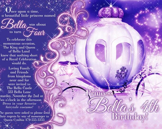 Princess Party Invitation, Birthday Party Invitations, Princess Carriage Invitation