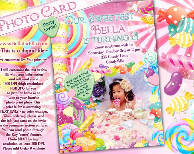 Candyland Party Invitation, Photo Card, Candy Land Photo Invitation,  Sweeties Party, Lollypop Candy Hearts, Candy Party with Photo