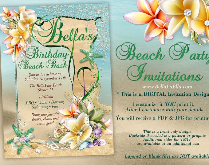 Summer Party, Beach Party Invitation, Luau Invitations, Nautical Beach Party, Beach Theme, Nautical Sea Theme, Shells