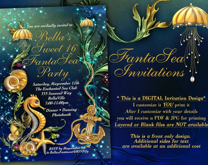 Nautical Theme Party Invitation, Under the Sea Theme Invitation, Enchanted Seas Party