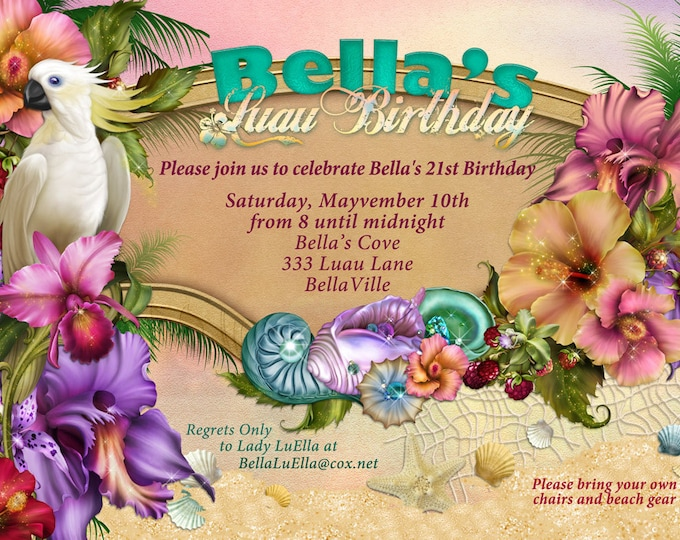 Beach Party Invitation, Luau Party, Summer Party Invitations, Luau Invitations,