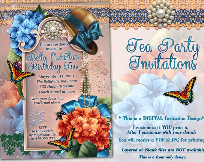 Bridal Shower Invitation, Garden Party, Shower Invitations, Birthday Invitations, Garden Birthday Tea, Orange Blue Floral Party, Hat Party