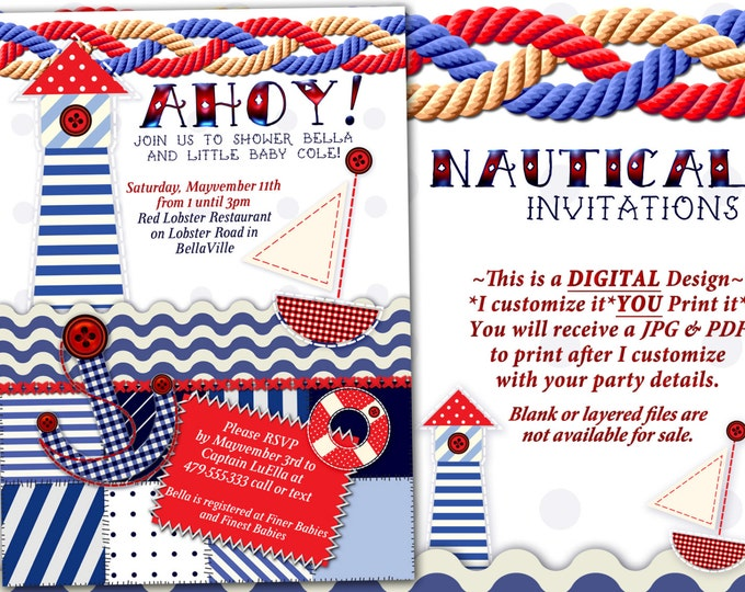 Nautical Theme Party Invitation, Nautical Theme Showers, Nautical Birthday