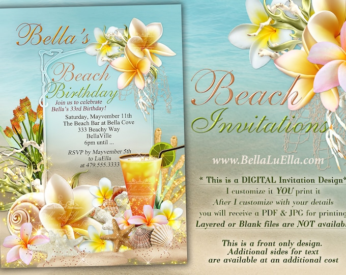 Beach Theme Party Invitation, Beach Birthday Invitation, Luau Party, Summer Party, Girls Weekend Out, Luau Birthday