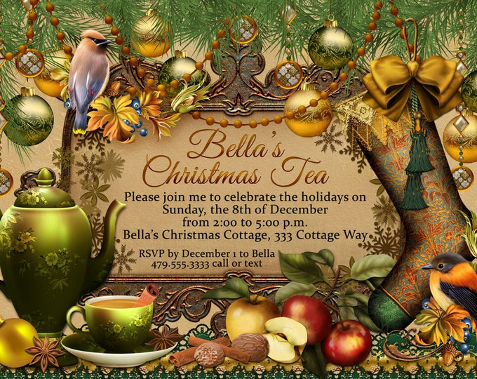 Christmas Tea Party Invitation, Holiday Tea Party,  Party Invitations, Tea Party, Christmas Tea