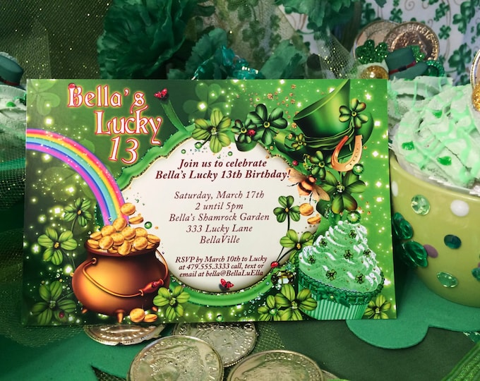 St. Patricks Day Party Invitations, St. Patty's Day Invites, Saint Patricks Day, Lucky 13 Birthday