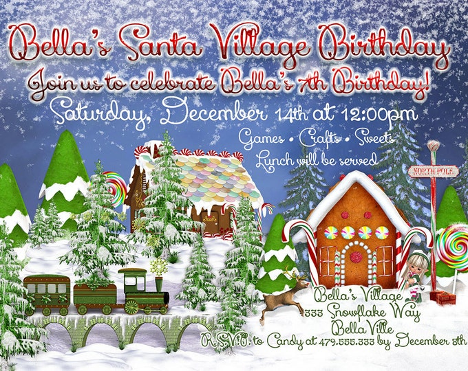 Santas Village Party, Santa Village Invitation, North Pole Party