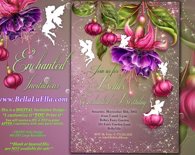 Fairy Invitation, Fairy Party Invitation, Birthday Party Invitations, Fairy Garden Party, Whimsical Invitations, Fuchsia Fairies