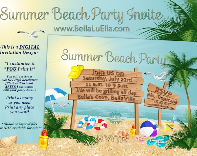 Summer Party, Beach Party Invitation, Luau Invitations, Birthday Party Invitations, Luau and Beach Party
