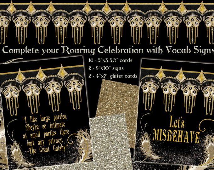 Roaring 20's Glam Party Printable Vocab Cards