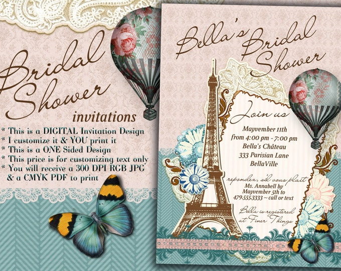 Bridal Shower Invitation, Shower Invitations, Bridal Showers, Paris Theme Party, Parisian Bridal Shower