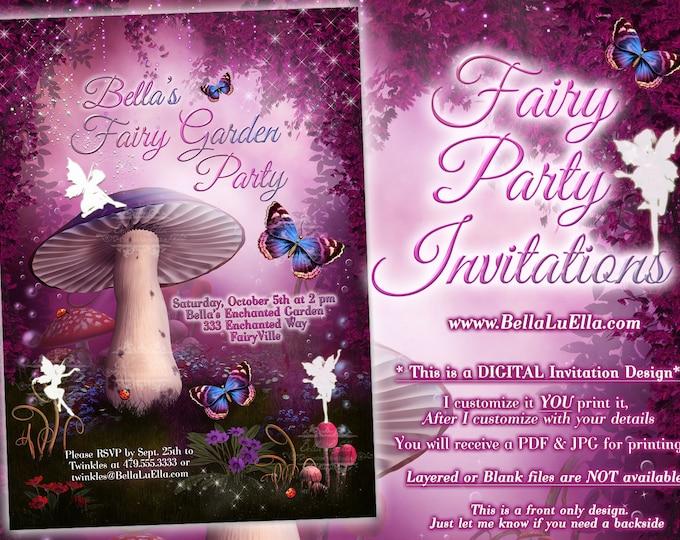 Fairy Invitation, Fairy Party Invitation, Birthday Party Invitations, Fairy Garden Party, Whimsical Invitations, Mushroom Fairy Forest