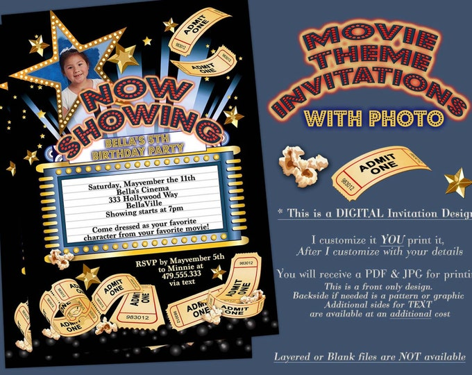 Movie Viewing Party, Photo Movie Theatre Invitation, Photo Movie Birthday Party, Movie Night Invitation