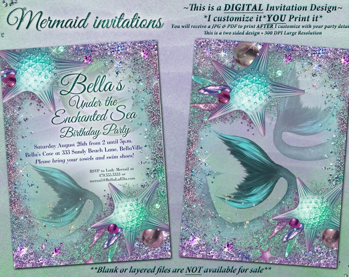 Mermaid Invitations, Mis Quince Años Mermaid Party, Mermaid Pool Party, Sweet 16 Mermaid Birthday Party Invitations