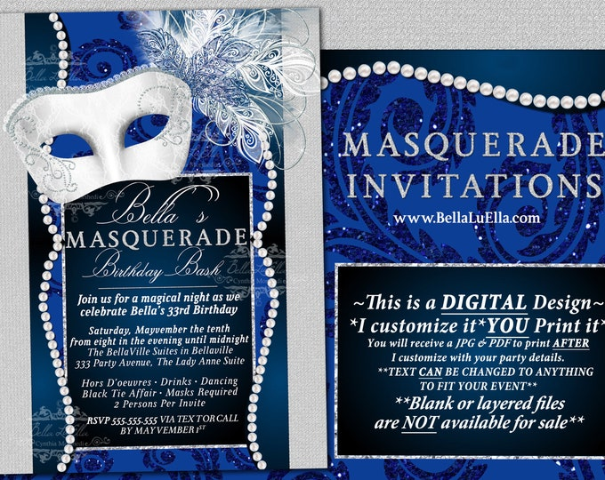 Masquerade Party Invitation, Mardi Gras Party, Party Invitations, Masquerade Invitations, Mis Quince Anos, Blue White Masquerade, Masked