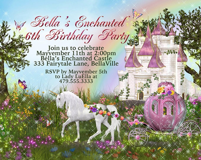 Unicorn Castle Party, Unicorn Carriage Castle Invitation