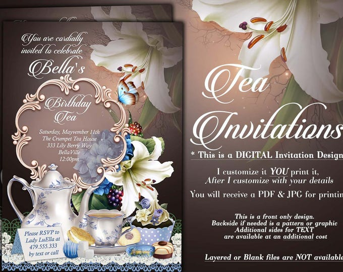 Tea Parties, Bridal Tea Party Invitation, Tea Party Invitations, Lily Tea Party, Party Invitations