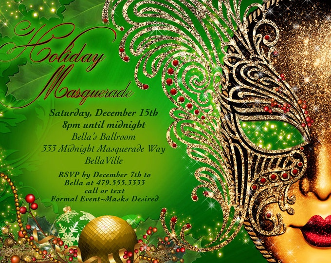 Holiday Masquerade, Christmas Masquerade, Masquerade Party, Masquerade Invitation, Mardi Gras Party