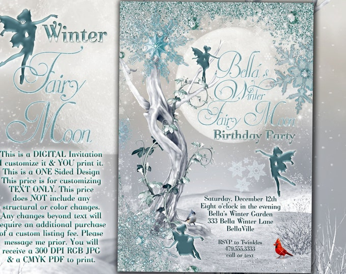 Fairy Birthday Invitation, Fairy Snowflake Invitation, Winter Fairy Moon Invitation, Winter Snowflake Party Invitations