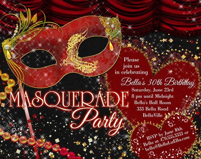 Masquerade Party Invitation, Mardi Gras Party, Sweet 16 Party Invitations, Masquerade Invitations, Quinceanera, Red Gold Black