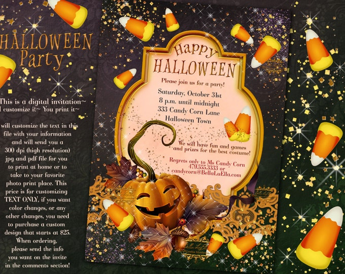 Halloween Pumpkin Carving Candy Corn Invitations Halloween Party Invitations