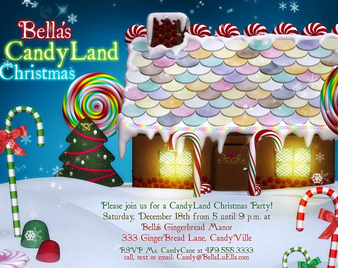 Candy Land Christmas, Ginger Bread House Card, Christmas Party Invitations, Christmas Card, Christmas Invitation, Holiday Cards