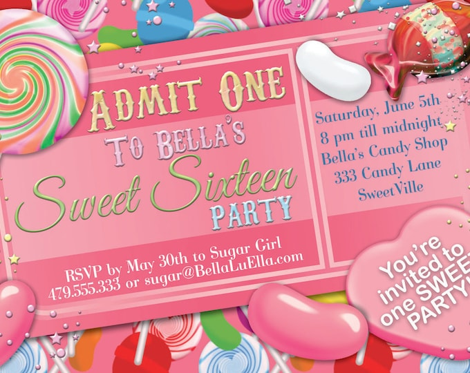 Candy Party Invitation, Sweet 16 Party Invitation, Candy Land Quinceanera Candy Ticket Invitation, Candy Quince Party Invitations