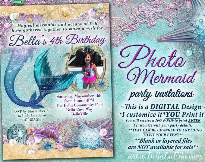 Mermaid Party Photo Invitation, Mermaid Party, Under the Sea Pool Party, Photo Seashell Mermaid Bling, Starfish Shells Mermaid Tales