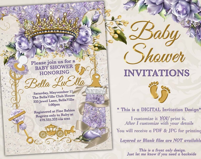 Princess Baby Shower Invitation, Baby Shower Bling, Jewel Princess Baby, Baby Showers, Lavender Cream Bling Baby Shower, Purple Roses