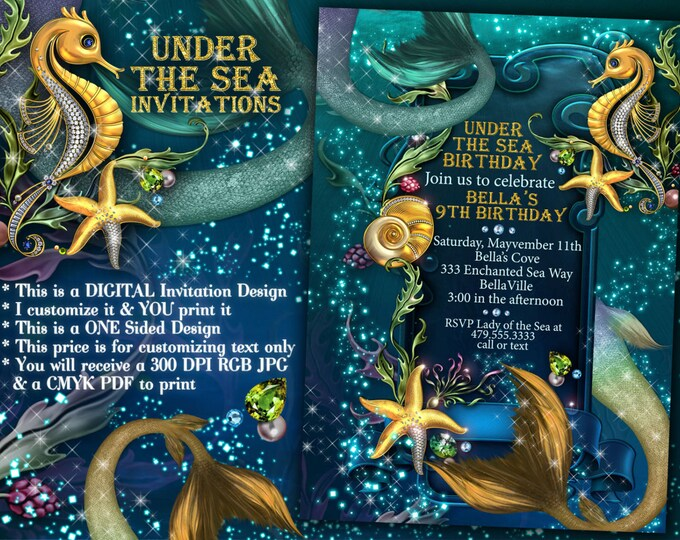 Under the Sea Mermaid Seahorse Party, Mermaid Invitations, Mermaid Pool Party, Under the Sea Dance Invitations, Enchanted Seas, Sea Theme