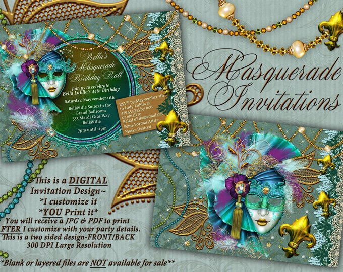 Masquerade Party Invitation, Mardi Gras Party, Mis Quince Anos Mascarda