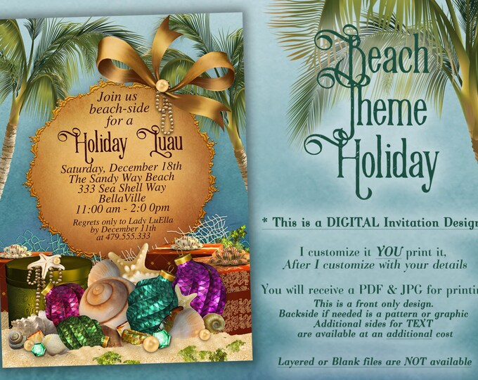 Beach Christmas, Christmas Party Invitations, Tropical Holiday Party, Beach Theme Christmas