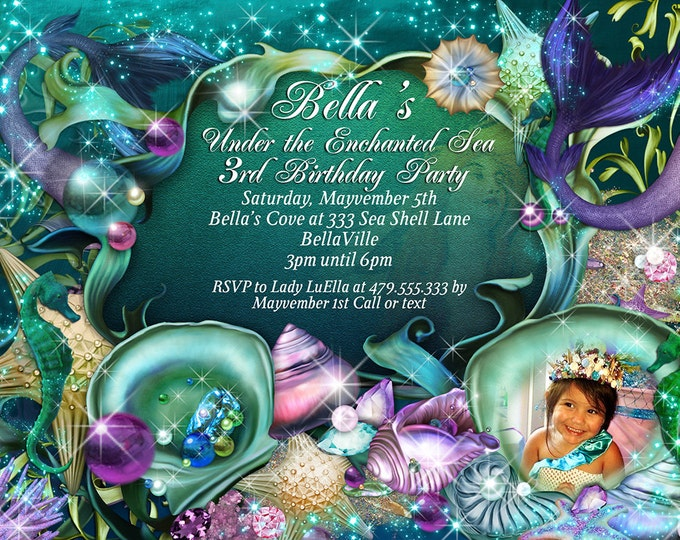 Mermaid Party Photo Invitation, Mermaid Party, Mermaid Invitations, Photo Birthday Card